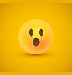 surprised yellow emoticon face in 3d background vector image