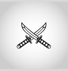 sword logo icon samurai katana tattoo art vector image