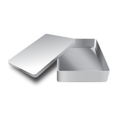 Template of metal box with cover up vector