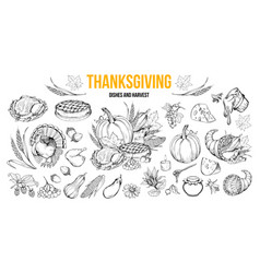 thanksgiving dishes and harvest set vector image