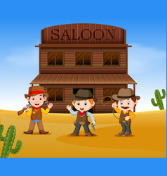 Three cowboys holding gun and standing outside vector