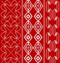 Traditional red and white pattern vector image