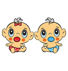 Two Funny baby sitting Cute baby boy and girl vector image