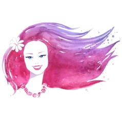 Watercolor portrait of woman vector