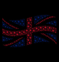 waving uk flag mosaic of spider items vector image