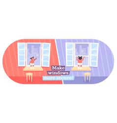 Windows kids safety vector