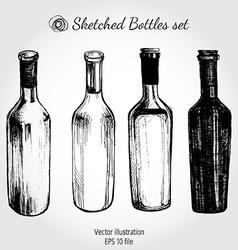 Wine bottle - sketch and vintage vector