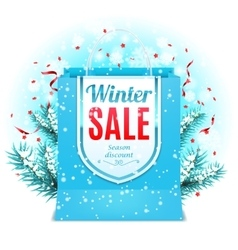 Winter Sale Shopping Bag vector