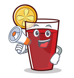 With megaphone mulled wine character cartoon vector