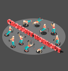 Workout isometric background composition vector