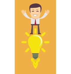 Young Man Having an Idea Light bulb vector