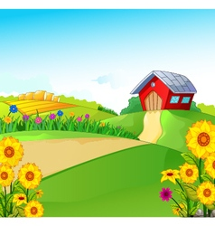 beauty farm with landscape background vector image vector image