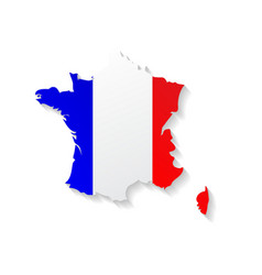 France flag map with shadow effect vector image vector image
