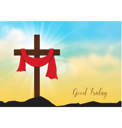 good friday background with wooden cross and sun vector image