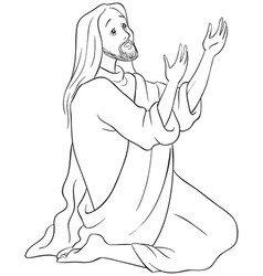 jesus kneeling in prayer coloring page vector image vector image