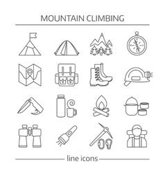 Mountain Climbing Linear Icon Set vector image