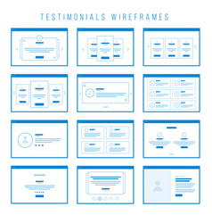testimonials wireframe components for prototypes vector image vector image