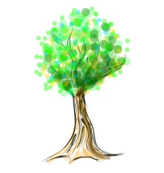 Tree cartoon icon isolated on white vector image vector image
