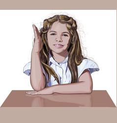 schoolgirl raising her hand vector image