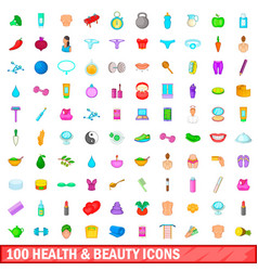 100 health and beauty icons set cartoon style vector image vector image
