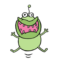 cartoon green germ jumping with happiness vector image vector image