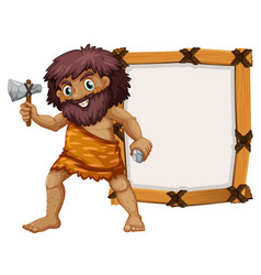 caveman and wooden frame vector image