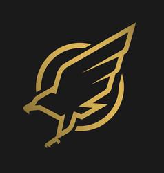 eagle logo emblem on a dark background vector image vector image