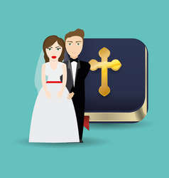 Get married couple bible card celebration vector