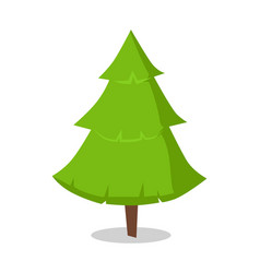 green bushy christmas tree icon isolated on white vector image vector image