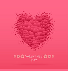 Happy valentines day card with hearts valentine vector