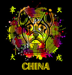 image of an chinese dogancient chinese vector image