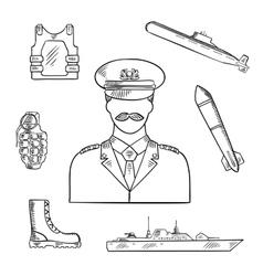 Military man with army symbols sketch icon vector