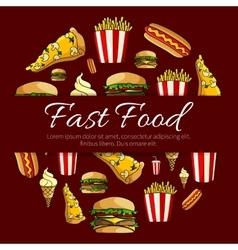 Fast food menu card circle design vector image vector image