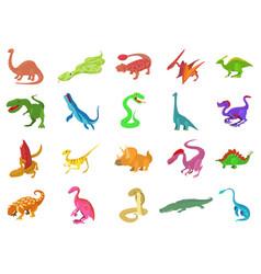 reptile icon set cartoon style vector image