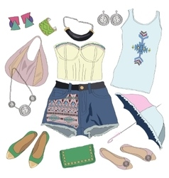 Summer clothes collection for young women and girl vector image vector image