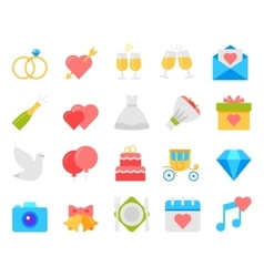 Wedding icons set flat design vector image
