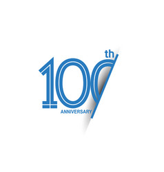 100 anniversary blue cut style isolated on white vector