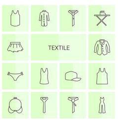 14 textile icons vector