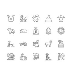 animal feeds line icons signs set vector image
