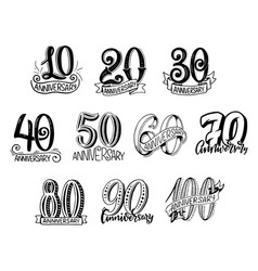 Anniversary year numbers lettering vector