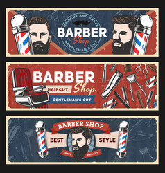 Barbershop razors retro poles haircut shavers vector