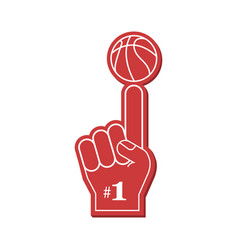 basketball fan number 1 fan red foam finger vector image