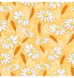 Beautiful camomile flowers seamless pattern yellow vector