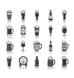 Beer glass mug black silhouette icons set vector