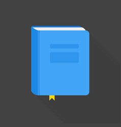 Blue book icon flat style with long shadow vector