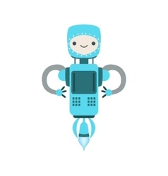 Blue Friendly Flying Android Robot Character vector