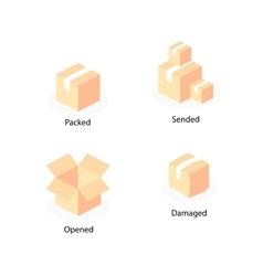 Box logo template flat icons set vector