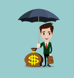 business man with an umbrella protecting money vector image