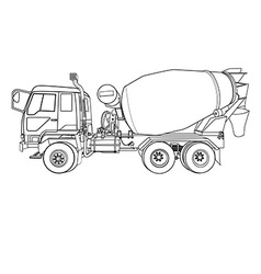 Cement mixer truck on white vector