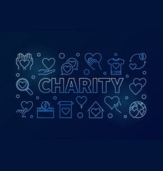 charity blue horizontal - line vector image